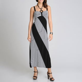 R & M Richards Women's Black/ White Mix Stripe Maxi Dress
