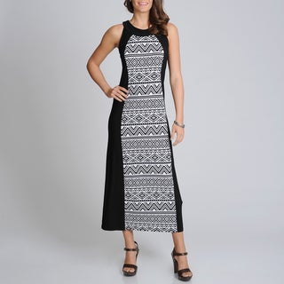 R & M Richards Women's Black/ White Aztec Print Maxi Dress