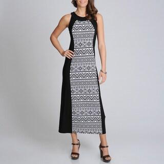R & M Richards Women's Black/ White Aztec Print Maxi Dress
