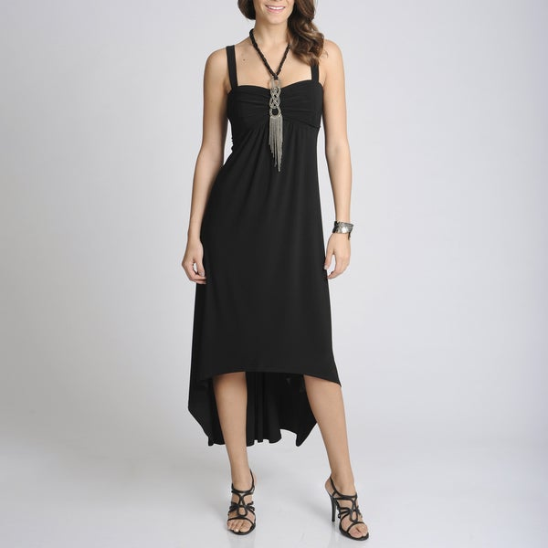 R & M Richards Women's Black High-low Dress with Necklace