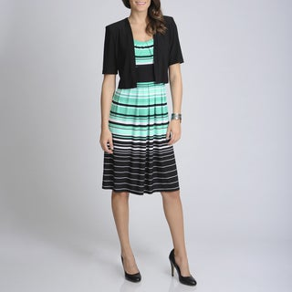 R & M Richards Women's Black/ Aqua Stripe Jacketed Dress