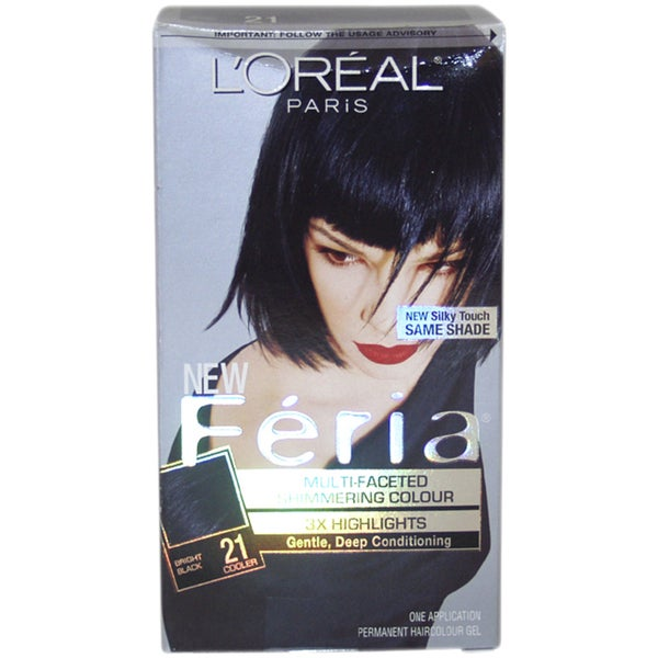 L'Oreal Feria Multi-Faceted Shimmering Color 3X Highlights #21 Bright Black Cooler Hair Color