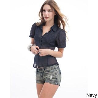 Stanzino Juniors Sheer Silk-blend Short Sleeve Shirt