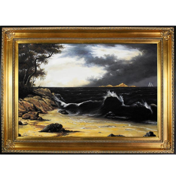 Martin Johnson Heade 'Storm Clouds Over the Coast' Hand Painted Framed Canvas Art
