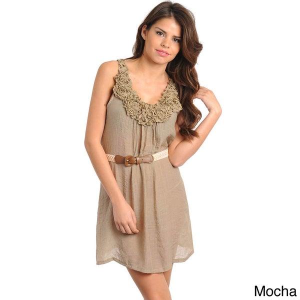 Stanzino Women's Rosette Sleeveless Dress with Belt