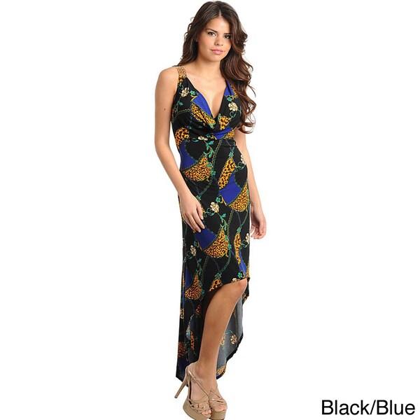 Stanzino Women's Mix Print High-low Dress with Jewel Straps