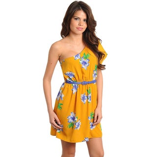 Stanzino Juniors Floral Single Shoulder Dress with Skinny Belt