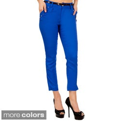 Stanzino Women's Colored Ankle Pants with Belt