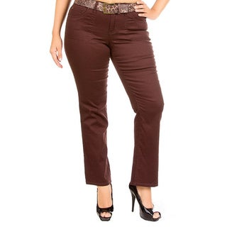 Stanzino Women's Plus Brown Bootcut Pants with Belts
