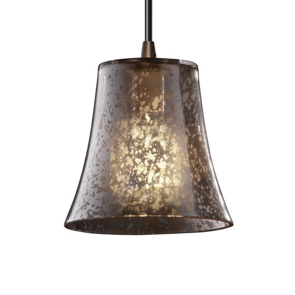 Justice Design Group Dark Bronze 1-light Round Flared Mini Pendant
