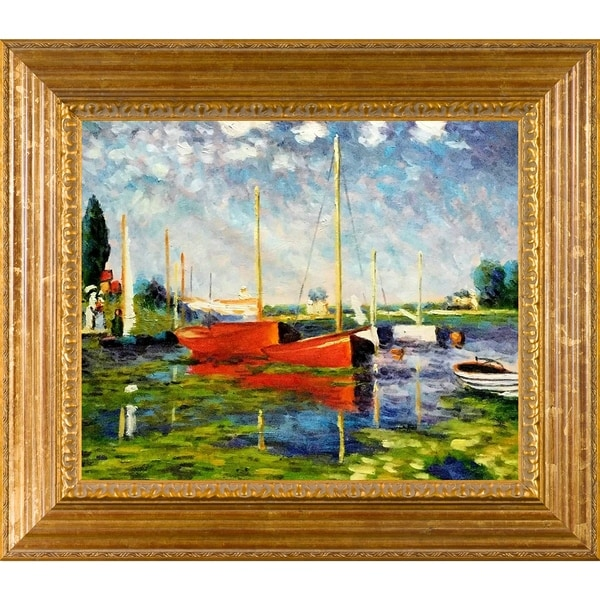 Claude Monet 'Red Boats at Argenteuil' Hand Painted Framed 31-inch Canvas Art 10903243