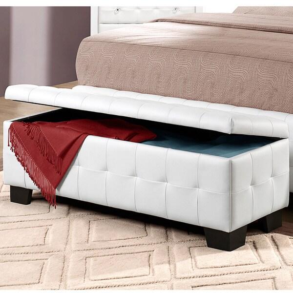 Jasmina White Faux Leather Tufted Modern Storage Bench 15275858 Shopping