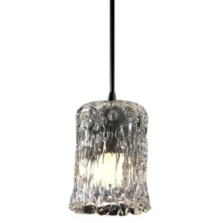 Brushed Nickel 1-light Rippled Rim Cylinder Mini Pendant