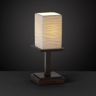 Dark Bronze 1-light Flat Rim Square Table Lamp