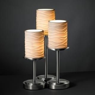 Justice Design Group Brushed Nickel 3-light Cylinder Flat Rim Table Lamp