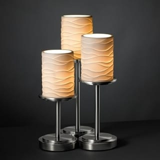 Brushed Nickel 3-light Cylinder Flat Rim Table Lamp