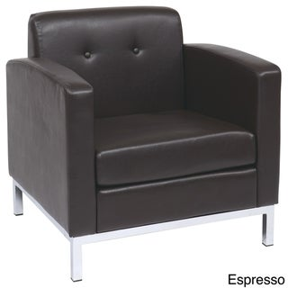 Wall St. Faux Leather and Chrome Club Chair
