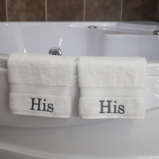 "Authentic Hotel and Spa Personalized ""His"" Turkish Cotton Hand Towels (Set of 2)"