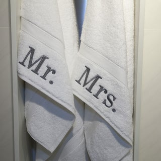 Authentic Hotel and Spa Personalized Mr. and Mrs. Turkish Cotton Hand Towels (Set of 2)