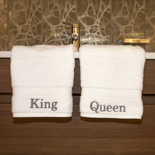Authentic Hotel and Spa Personalized King and Queen Turkish Cotton Hand Towels (Set of 2)