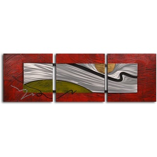 Handcrafted 'Tar Stream on Metal' Metal on Hand-painted Canvas Wall Art