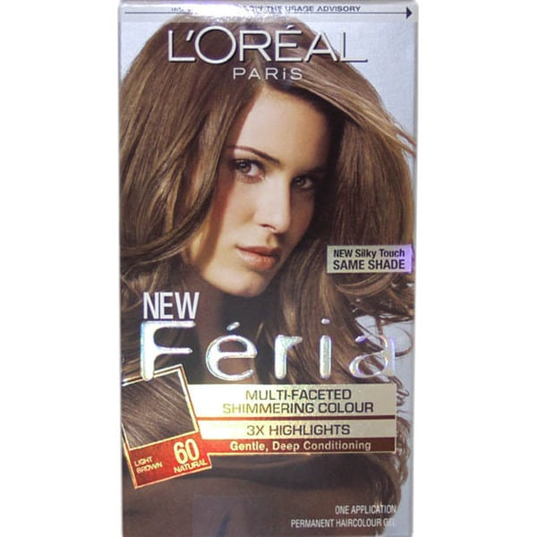 L'Oreal Feria Multi-Faceted Shimmering Light Brown #60 Natural Hair Color