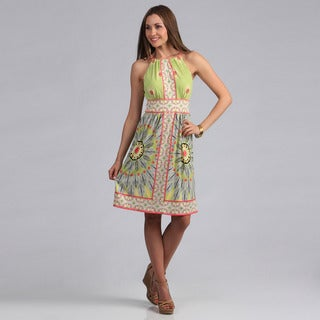 London Times Women's Printed Matte Jersey Keyhole Halter Dress