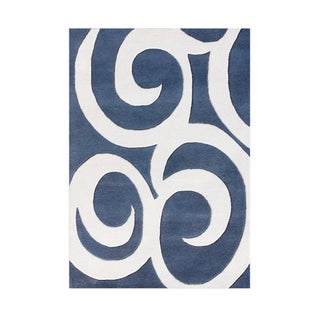 Alliyah Hand Tufted Blue New Zealand Blend Wool Rug (4' x 6')