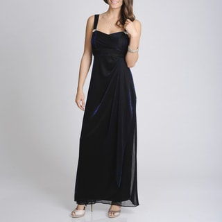Betsy & Adam Women's Metallic Black Formal Evening Gown