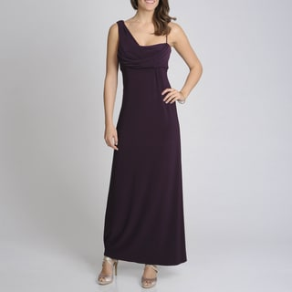 Betsy & Adam Women's Plum Drape Strap Evening Gown