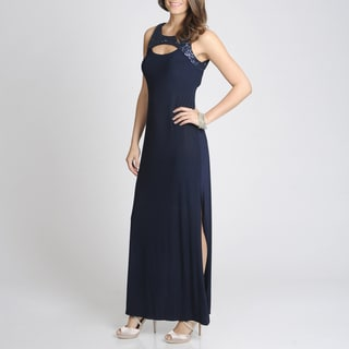 Betsy & Adam Women's Navy Sequin Keyhole Gown