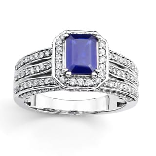 14k White Gold Blue Sapphire and 2 1/4ct TDW Diamond Bridal Ring Set (H-I, I1)