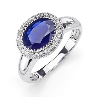 14k White Gold Blue Sapphire and 1/2ct TDW Diamond Ring (H-I, I1)