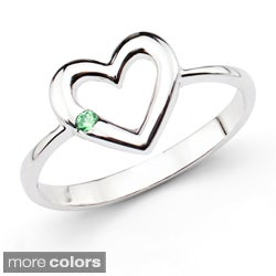 Sterling Silver Gemstone Open Heart Ring