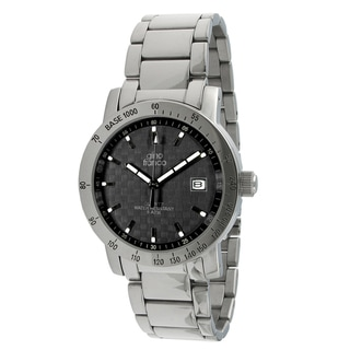 Gino Franco Men's Stainless Steel Carbon Fiber Dial Watch