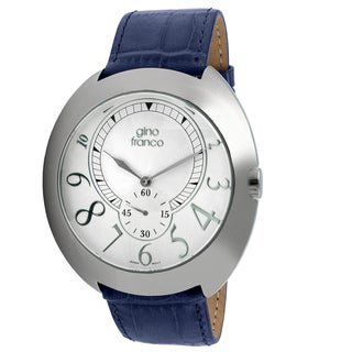 Gino Franco Men's Blue Leather Strap Oversized Watch