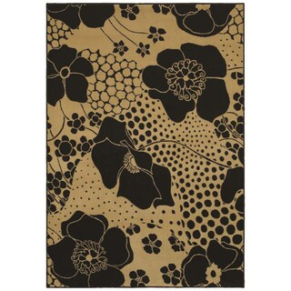 Ebony Wildflower Black Area Rug (5'5 x 7'8)