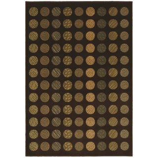Circle Mix Brown Modern Area Rug (5'5 x 7'8)