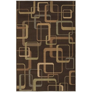 'Silhouettes' Brown Geometric Block Pattern Rug (5'3 x 7'10)