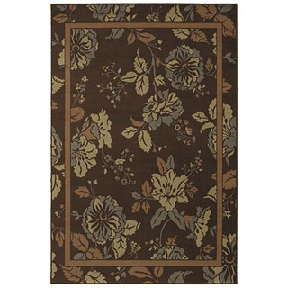 Ming Garden Brown Transitional Floral Rug (5'3 x 7'10)