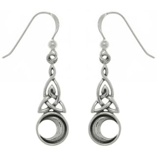 CGC Sterling Silver Celtic Triquetra Moon Earrings