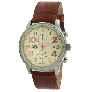 Gino Franco Men's 'Volare' Multi-function Leather Strap Watch