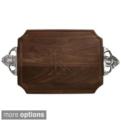 Monogrammed Walnut Cutting Board with Handles