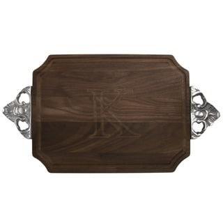 Monogrammed Walnut Cutting Board with Handles