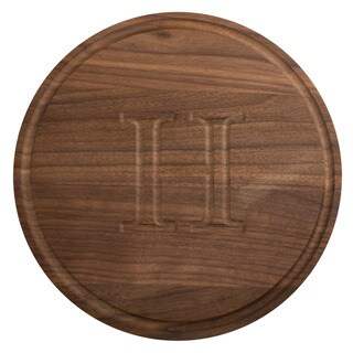 Monogrammed 10.5 Inch Round Walnut Cutting Board