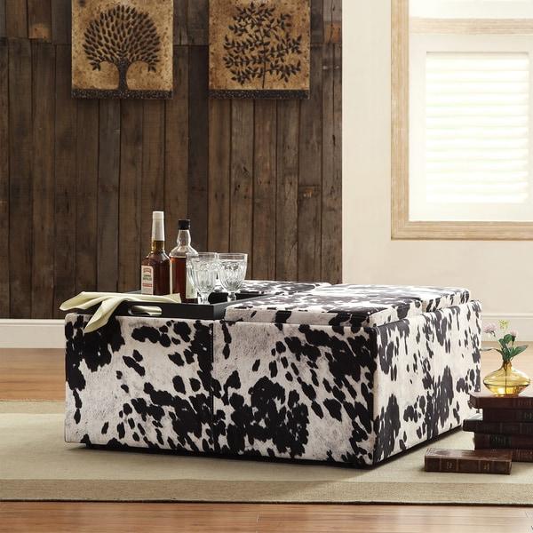 INSPIRE Q Montrose Black & White Faux Cow Hide Modern Storage Ottoman