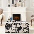 Inspire Q Decor Black White Cow Hide Modern Storage Ottoman