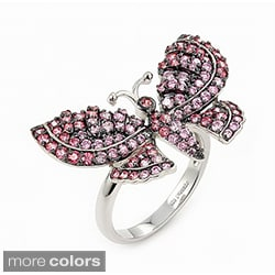 Plutus Sterling Silver Colored Cubic Zirconia Butterfly Ring