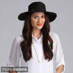 Swan Hat Women's Black Floppy Straw Packable Hat