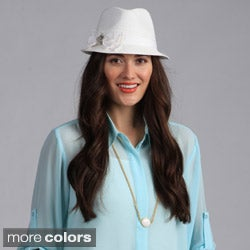 Swan Hat Women's Fedora Straw Ribbon Packable Hat